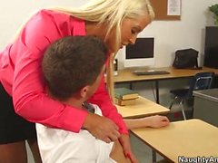 Blonde teacher Alura Jenson pleases horny student Bruce