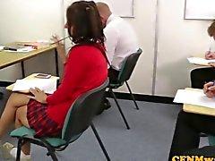 Femdom Jess West and pal jerk classmates