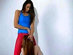 Hårig lesbiska i nylon byxor makinglove