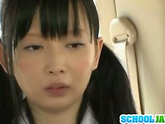 Horny Japanese schoolgirl has sex in a car and fucking hot