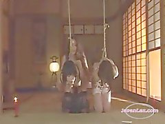 2 Slave Asian Girls Bondaged Fucked With Strapon kidutettiin Hot Wax By Mistress InRoo