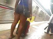 Hoochie black legs and ass street voyeur