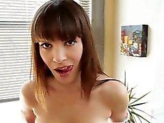 Fetish brunette throats cock pov