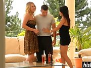 Fat dick disappears in two cute babes