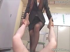 strumpfhosen footjob stockings footjob