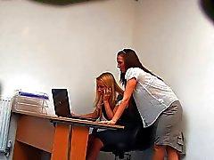 Secretários lésbicas durante o almoço (Fake Cam Oculto)