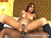 Red hair and black knee stockings made Milena one hot shemale difficult to resist. Her beautiful tan and her soft skin made her even more irresistable but it was really her hard cock that got us. Her black lover was on her in a second and feeding his blac