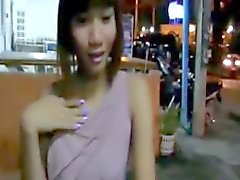 ladyboy jerks herself in public