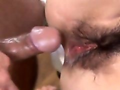 Ran Monbu sucks dick and is nailed in hairy cunt through