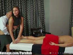 Husband Cheats with Masseuse with Wife in Room!