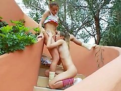Ivanas slaves of lesbo orgasm outside