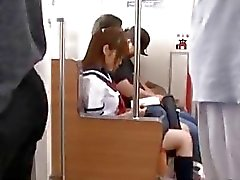 Bunch of mature pervs bang Japanese schoolgirl at electric train