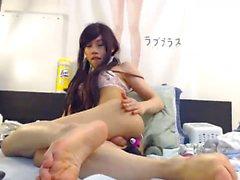 Cute Asian Crossdresser Triss Humps Pillow & Spanks Herself