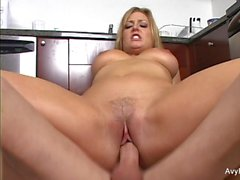 Super sexy Avy gets nailed in the kitchen