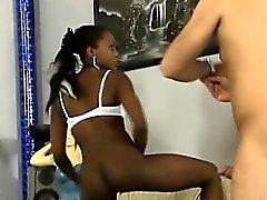 Beautiful African black babe sucks her white boyfriends