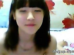 Söpö korealainen girl tyhjentäminen seksikäs