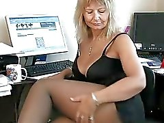 Sihteeri Kotiäiti sormitus hänen Aikuinen Pussy