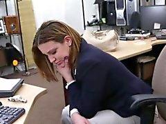 Tittyfucks brunette Bigtit in pawnshop