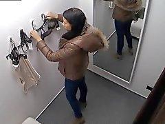 Fönstertittare Spycam ursnygga teen Brunett Montering Underkläder