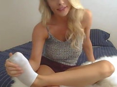 Blond cutie and her big dildo