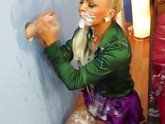 Glam babe bukkake covered through gloryhole
