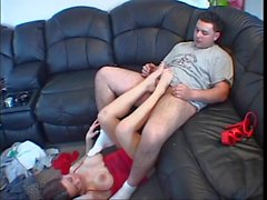 Lucky guy gets a foot job from a hottie with nice big naturals