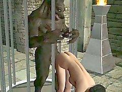 Heißer brunette Babe Karikatur 3D von einem Werwolf durchgefickt
