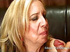 Dirty old slut gets cumhosed in her face