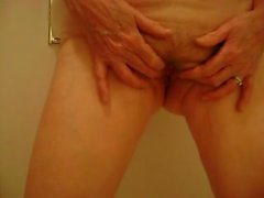 Old wife naked in bathroom