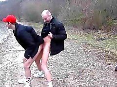 Daddy and younger dude fucking outdoors
