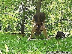 Slim Gallonen pisst auf einer Zeitungs in den Park