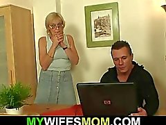 He fucks porn-loving mother-in-law