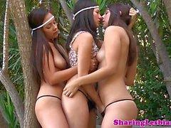 Shyla Jennings licking lesbian pussy in trio