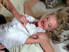 Ticklish Jasmina in Tan Nylon