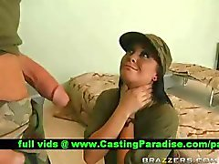 Jackie Daniels gagging huge cock in the army
