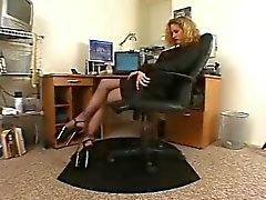 Le secrétaire bandante collants noirs hauts talons en solo