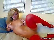 Busty Blonde in Red Stockings Having a Good Time Webcam