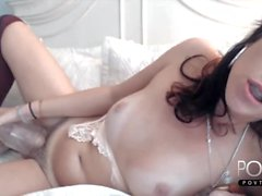 Sexy mature brunette shemale jerks hairy dick