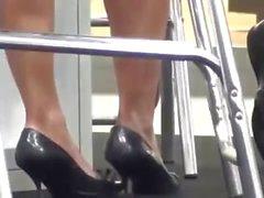 public NYLON FEET UNDER DESK SHOEPLAY PANTYHOSE hostess dipping