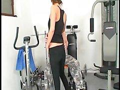 Brunette works up a sweat