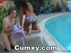 Guy Licking Ebony Ass On Poolside