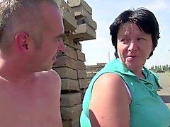 Grandma Seduce to Fuck outdoor by Young Stranger Boy