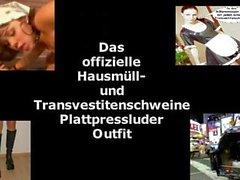Lateks Maid of Luder Scheiss Transvestitenschweine im Müllpresswagen totpressen