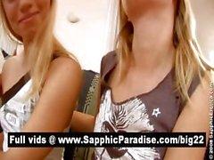 Hot брюнетка и блондинка Остров Лесбос поцелуи и аппликатура киски и обладающие лесбо секса