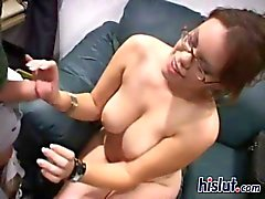 Nerdy babe Gia is a cock sucker