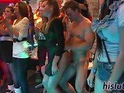 Naughty sluts suck cocks at a party