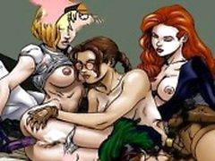 Famous sarjakuvia orgioissa