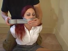 Wrap Tape Gagged 15 - (Two Huge Socks Stuffed in Mouth)