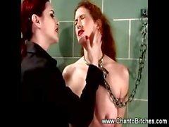 Dominatrix bruises redhead slaves boobs