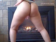 Sexy Babe Twerks By Fireplace